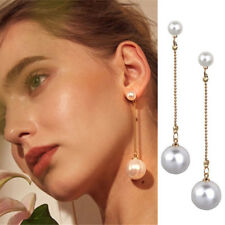 925 Silver Natural White Pearl Dangle Drop Earrings Hook Wedding Jewelry Gifts