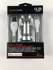 Dual-Port Car Charger 4.8 USB w/cable (New In Box) for iphone-ipad-ipod See BOX