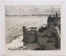 1925 Grande gravure eau-forte Henri Voisin Mont Saint Michel Tour Boucle