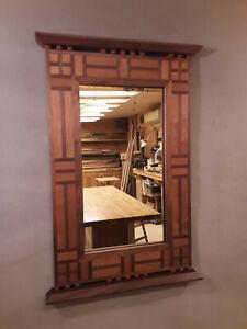 Handcrafted Arts & Crafts Mirror Black Walnut & Black Cherry
