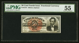 """1869-75 50 CENT FRACTIONAL CURRENCY """"LINCOLN"""" FR1374 CERTIFIED PMG ABOUT UNC.-55"""