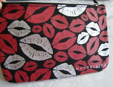 Maybelline new york black/red/silver lips make-up bag, cosmetic bag,