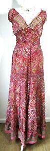 Boho hippie Festival pixie 100% SILK pagan PINK summer Long dress maxi One size