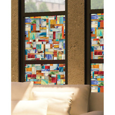 """24x36"""" Art Deco Decorative Window Film Light Filter Privacy Church Stained Glass"""