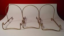 "3 Vintage Wire Plate Stand / Display Holders Gold Paint Steel 5 1/2"" x 5"" x 4"""
