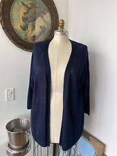 NWT Talbots Woman Petites 3XP Petite Navy Blue Linen 3/4 Sleeve Cardigan $89.50