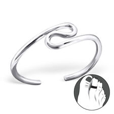 Tjs 925 Sterling Silver Toe Ring Gorgeous Wave Design Adjustable Body Jewellery