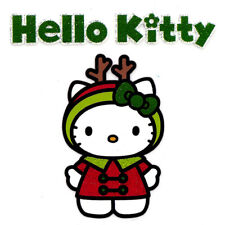 "3X3"" Hello Kitty glitter IRON On TRANSFER Heat Vinyl ハロー・キティ Xmas reindeer"