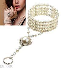 Bellissimo anello bracciale baciamano perle bianche  - India