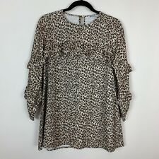 Nwt Mayoral Ruffle Leopard Animal Print Dress 12 girls kid boutique chic