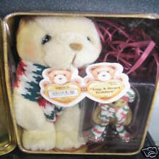 Cherished Teddies 2Pc PLUSH BEAR & TUG A HEART BEAR  FIGURINE Tug A Heart