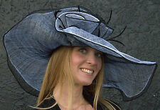 NEW Kentucky Derby Hat Layered Soft  Sinamay Straw Flowing Brim Black and White