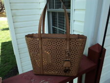 Authentic Michael Kors Desi Small Travel Tote Leather Acorn Brown Pierced NWT