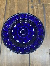 """1 Arabia of Finland 1960's hand painted VALENCIA blue 10"""" dinner plate (1)"""