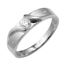 Men's Sterling Silver CZ Stones Sideways Design Matte Finish Wedding Band Ring