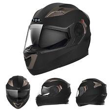 BLACK FULL FACE Modular Flip Up Front Helmet Suit Road Bike Motorcycle ECE22.05