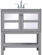 BATHROOM VANITY SINK CHEST CONTEMPORARY SINGLE CHROME GRAY MIRROR SOLID WOO