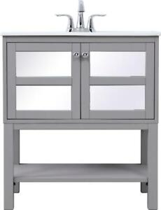 BATHROOM VANITY SINK CHEST CONTEMPORARY SINGLE GRAY CHROME MIRROR SOLID WOO