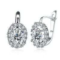 18K White Gold Plated Geo Cut Swarovski Crystal Stone Latchback Earring