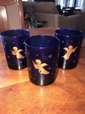 """3 Vintage Culver Cobalt Blue Celestial Glass Tumbler Gold Stars Angels 4"""" (SC)"""