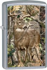 Zippo Realtree Camo Deer Image Street Chrome Finish Windproof Lighter 29310 NEW