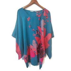 Twelfth Street by Cynthia Vincent 100% Silk Kaftan Top Blouse Dress Floral Sz S