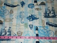 BTY TT NAUTICAL POSTCARD Blue Print 100% Cotton Quilt Craft Fabric by the Yard