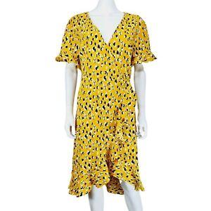 Yumi Yellow Black White Pattern Wrap Dress UK 12 Short Sleeve V-Neck