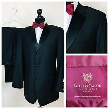 Mens Scott & Taylor Suit Tuxedo Dinner Evening 40R 36W 31L Black Formal  R39A