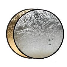 Oro Y Plata 2en1 Múltiple Plegable Disco Reflector 80cm Diámetro Para De Fotos