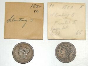 LOT OF 2 1852 LIBERTY BRAIDED HAIR LARGE CENTS 1C