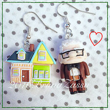 Orecchini Carl Fredricksen UP Movie Disney Pixar Handmade Polymer Clay Fimo Cute