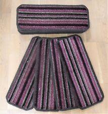 14 Stair Carpet pads Treads Grey / Claret Strips # 20cm x 50cm #