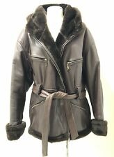 Sheep/Lamb Brown Leather Women's Duffle Flux Fur Lined Hooded Heavy Jacket S: XL
