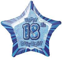 """20"""" Blue Happy 18th Birthday Prismatic Foil Helium Balloon Party Decorations"""