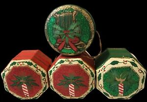 Vintage 4 Christmas Tree Hanging Gift Boxes Xmas Decorations Ornaments Retro .