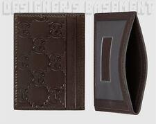 GUCCI chocolate GUCCISSIMA leather TRAIN PASS window Card Case NIB Authentc $195