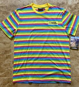 National Geographic Rainbow Striped T-Shirt - MEDIUM - FREE SHIPPING with PRIDE