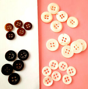 10 Real Mother of Pearl Buttons Cleanbake 4 Hole Sustained Various Sizes/Colors