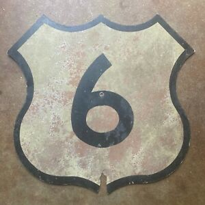 Nebraska US route 6 highway road sign 1960s shield cutout 18 inch