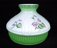 "Aladdin Lamp Shade Student Green w/ Violets 10"" Model 12 Kerosene Oil Glass New"