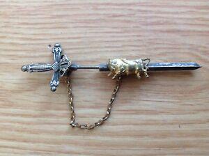 Vintage Spanish Bullfighter Matador Sword Bull Broach Pin