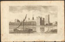 1779 ca ANTIQUE PRINT- LONDON- PERSPECTIVE VIEW OF ARCH BISHOP'S PALACE, LAMBETH