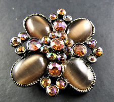 Vintage Style Gold Tone Cabochon & Rhinestones Pin Brooch (Br16)