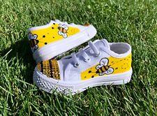 NEW Custom Painted Bumblebee Rhinestone Girls Slip On Canvas Shoes CHOOSE SIZE