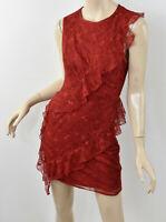 BEBE Red Dahlia Lace SPIRAL RUFFLE DRESS Sleeveless Cocktail Sheath S 6
