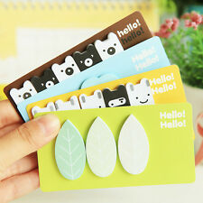 2 Cute Sticker Leaf Cloud Animal Bookmark Point Marker Memo Notepad Sticky Notes