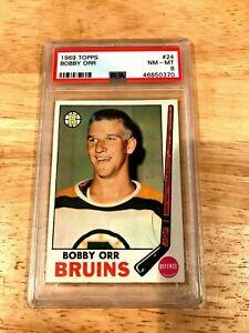 1969-70 TOPPS HOCKEY Bobby Orr #24 PSA 8 Boston Bruins HOF