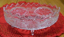 EAPG / Crystal Oval Footed Scalloped Boat Shaped Bowl - Floral Daisy w/ Sun Rays