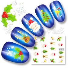 Nail Art Water Decals Transfers Christmas Xmas Santa Rudolf Tree Cane Holly K067